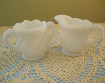 Miniature Westmoreland Milk Glass Sugar and Creamer Child's Size
