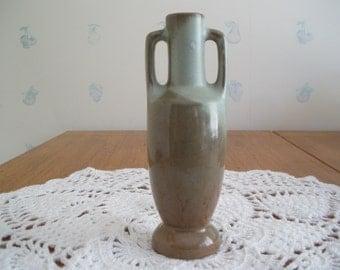 Frankoma Pottery Bud Vase Handled Vintage Brown Home Decor