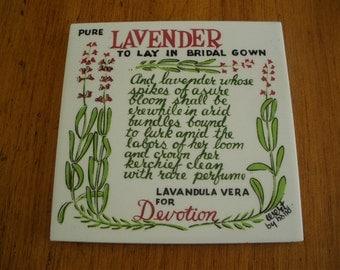 Vintage Robert darr Wert Tile Trivet Lavender
