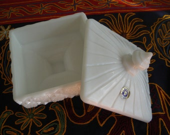 Westmoreland Old Quilt Milk Glass Covered Candy Dish with Logo and Label