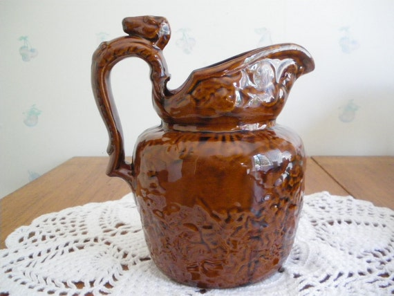 Vintage Rockingham Bennington Pitcher with Hunt Scene and Horse Head Handle