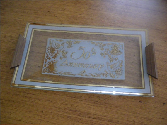 Vintage 50th Anniversary Glass Serving Tray
