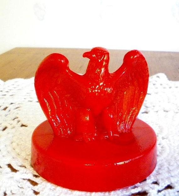 Fenton Eagle Paperweight Red Slag  Bicentennial