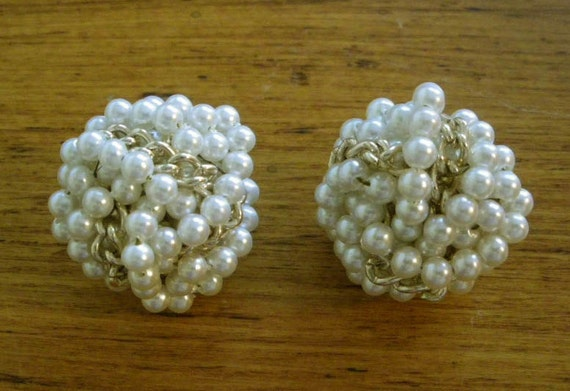 Vintage Faux Pearl and Gold Cluster Bridal Earrings