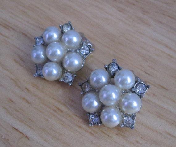 Mother of Pearl Rhinestone Earrings Wedding Jewelry Richelieu Vintage