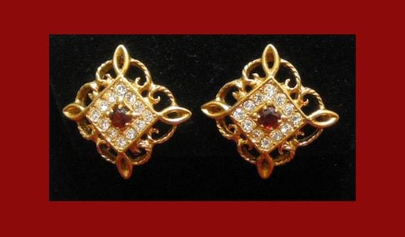 Ruby Rhinestone Earrings Avon Vintage