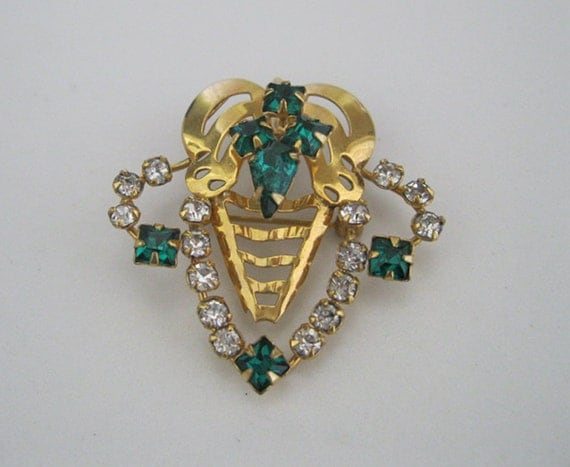 Emerald Green Rhinestone Brooch Gold Filled 12K Pin or Necklace Vintage