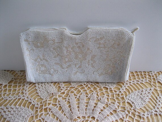 Ivory Bead Purse White Iridescent Seed Bead Clutch Vintage