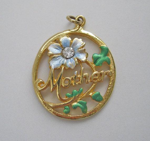 Avon Mother Pendant Goldtone Flower Design Necklace Vintage Mom