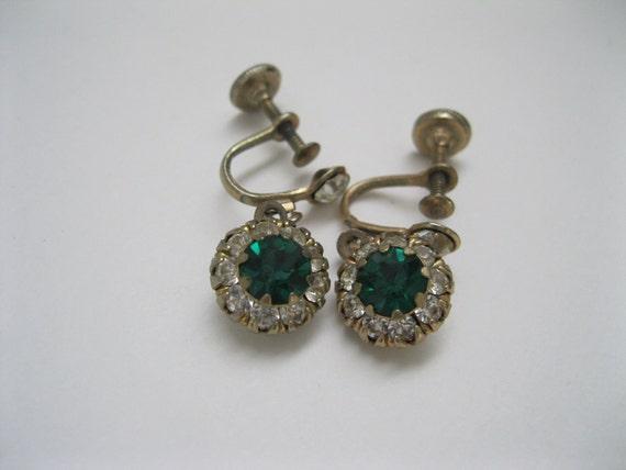 Green Rhinestone Earrings Vintage Wedding