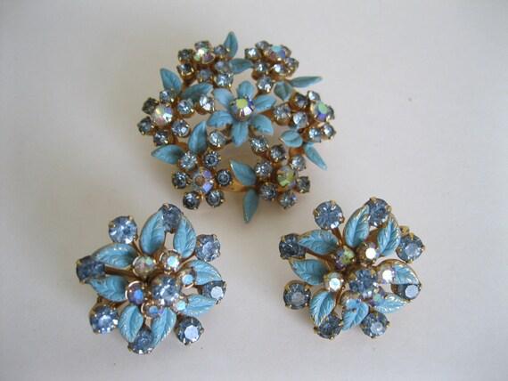 Blue Rhinestone Earrings Brooch Set Wedding Jewelry Aurora Borealis Enamel Vintage