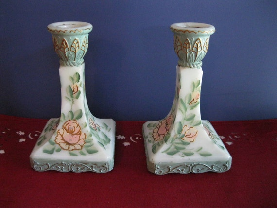 Milk Glass Candle Holders Painted Roses Vintage