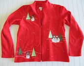 Ugly Sweater in red with snowman and trees size small