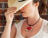 WHITE  Textured Rectangle  with RED HEART Pendant necklace with swavorski crystals