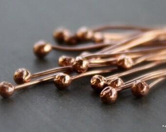 20 Handmade Copper Headpins Ball End 22 Gauge