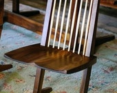 Custom made-to-order modern black walnut dining chair
