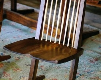 Custom made-to-order modern black walnut dining chair