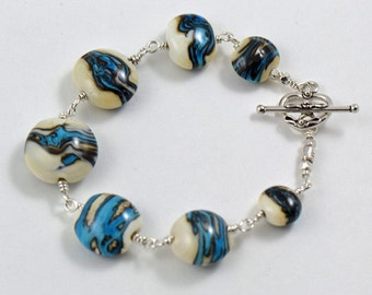 Bracelet Blues on Ivory Handmade Glass Beads with Sterling Silver