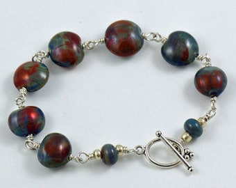 Bracelet Multi Color Raku Glass Beads with Sterling Silver