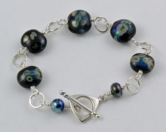 Bracelet Black with Aurae Glass Beads and Sterling Silver