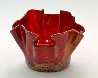 Cherry Red Opal Wispy Glass Votive