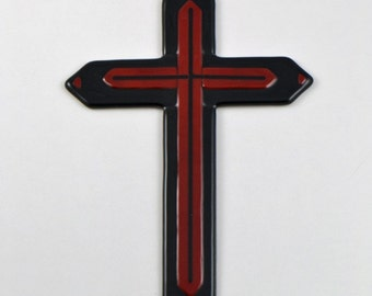 Cross Fused Glass Black and Red