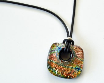 Dichroic Fused Glass Blue Gold Green Necklace