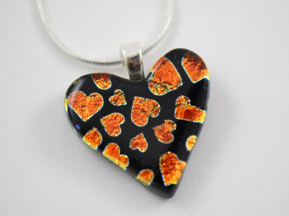 Dichroic Heart Pendant Orange Hearts on Black