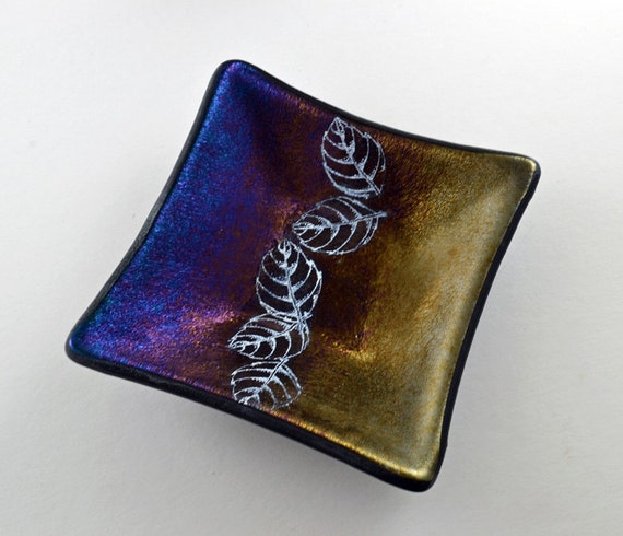 Fused Iridescent Glass Dish with Enamel