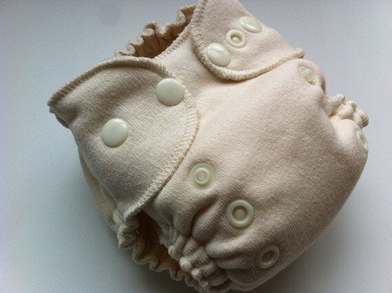 READY TO SHIP - Newborn - Bamboo Zorb Organic Cotton Sherpa Fitted Diaper - Scooped Belly - High Back