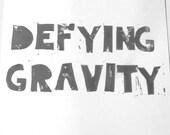 Lino print- Defying Gravity, 8X10 inches