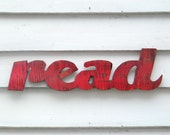 Read Sign Readers are Leaders School Teacher Kids Room Decor Barnwood Red