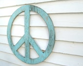 "Big Peace Sign  24"" Peace Symbol Large Rustic Shabby Chic Wooden You Pick the Color"