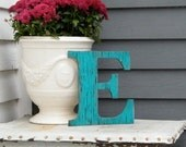 "Wood Letter Sign, Letter E Gulf Blue 10"" Serif Letter, Teal Wood Sign -Ready to Ship Item"