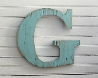 "Rustic Letter Wooden Wall Sign Distressed Cottage Chic 10"" high size"