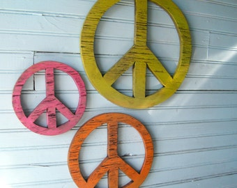 Peace Symbol Set  Wooden Peace Boho Decor Give Peace a Chance Bohemian decor Set of Three