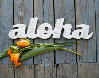 Aloha Sign Wooden Hawaiian Hello Gr eeting ...
