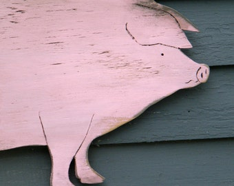 Piggy Wooden Sign Distressed Large Size Wood Farm Sign Country Pig