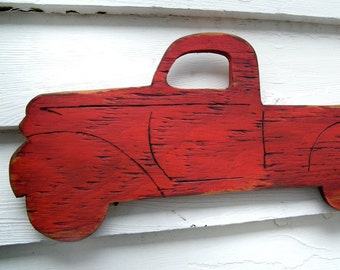 PickUp Truck Sign Wooden Vintage Style Red Truck Retro Wall Art