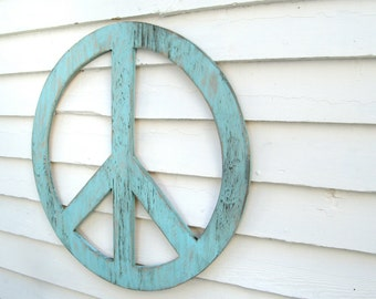 "Big Peace Sign  24"" Peace Symbol Peace Sign Wall Art Large Rustic Shabby Chic Wooden Boho Decor You Pick the Color"