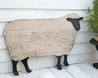 Wooden Sheep Black Face Sheep Mutton Wood Sheep Cutout