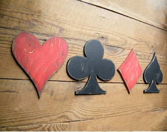 Wooden Card Symbols Sign Game Room Decor Heart Club Diamond Spade Playing Card Set 4 PC Poker Room Decor