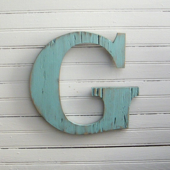 distressed wood letters rustic blue letter wooden wall sign distressed by 21380 | il 570xN.216390269
