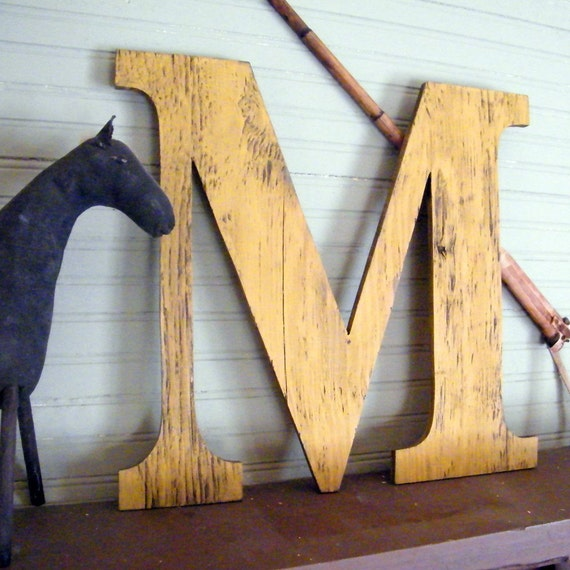 "Large Wooden Letters 18"" Letter Capitol Display Wall Letters Oversized"