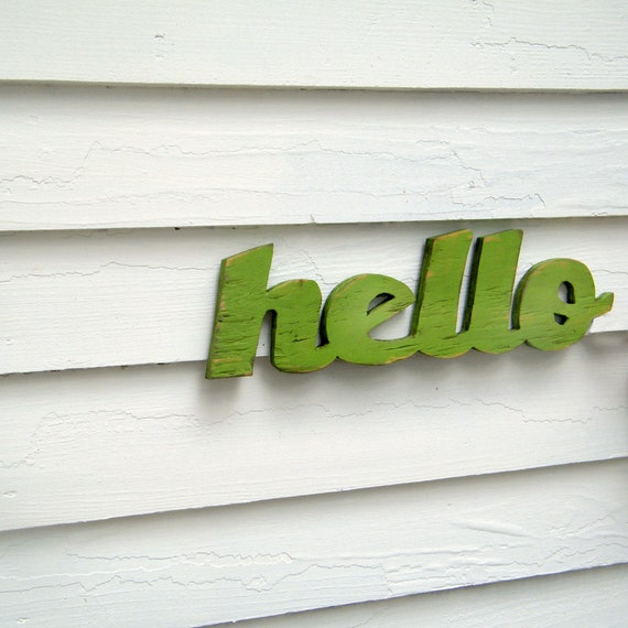 Hello Welcome Sign Wooden Hello Sign Greeting Salutation