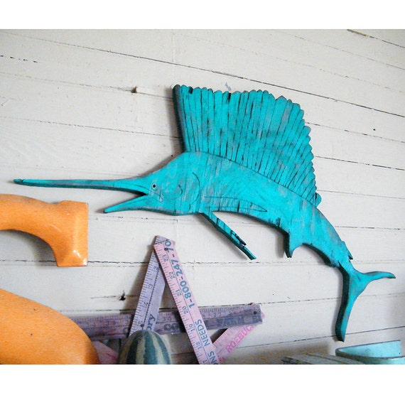 Fish Wall Decor Wood : Sailfish wooden sail fish wall decor deep sea fishing wood
