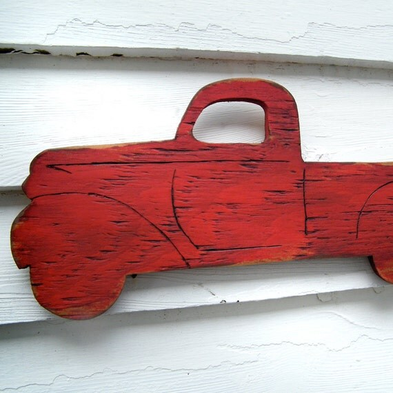 PickUp Truck Sign Wooden Vintage Style Red Wall Art