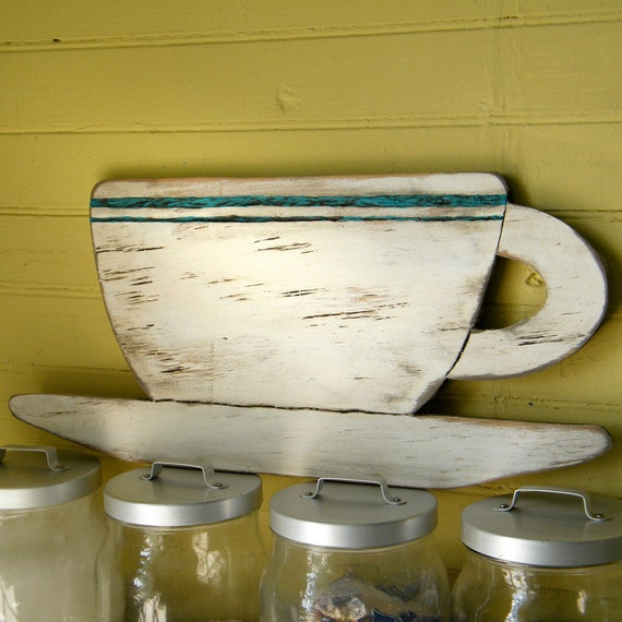 Diner Cup Sign Wood Kitchen Sign Distressed Retro Decor Wood Coffee Cup Sign