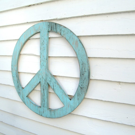 "Big Peace Sign  24"" Peace Symbol Large Rustic Shabby Chic Wooden Boho Decor You Pick the Color"