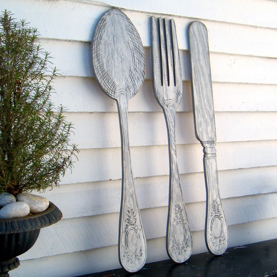 Wooden Utensil Wall Decor : Utensil set wall decor fork knife spoon art extra large